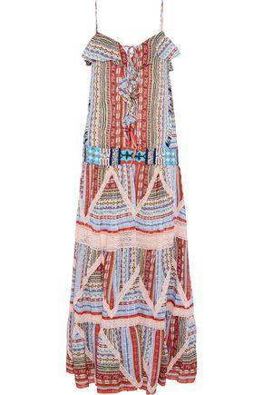 ETRO Lace-up bead-embellished printed silk-gauze maxi dress