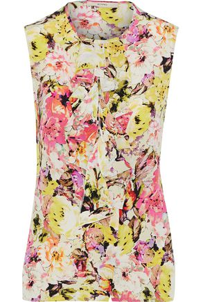 ETRO Ruffle-trimmed floral-print washed-silk blouse
