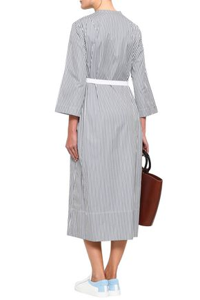 JOSEPH Laury striped cotton-poplin midi wrap dress