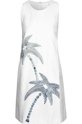 VICTORIA, VICTORIA BECKHAM Embroidered cotton and silk-blend cady mini dress