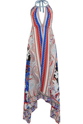 ETRO Printed silk-georgette halterneck maxi dress