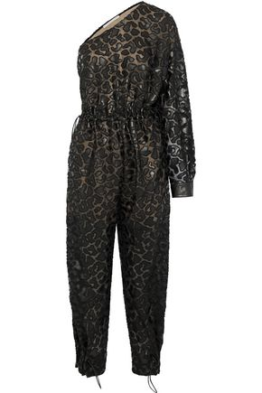 STELLA McCARTNEY Animalier one-shoulder cutout faux leather-appliquéd chiffon jumpsuit