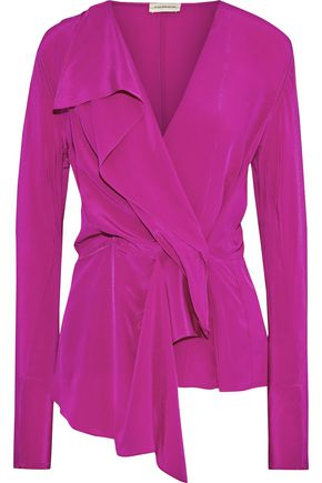 BY MALENE BIRGER Wrap-effect draped silk crepe de chine blouse