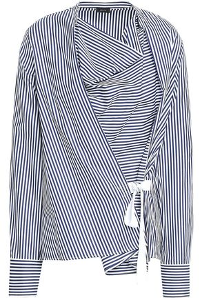 JOSEPH Wrap-effect striped cotton-poplin top