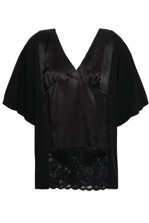 MM6 MAISON MARGIELA Paneled satin, lace and cotton-jersey top