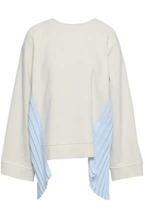 MM6 MAISON MARGIELA Pleated cady and French cotton-terry sweatshirt