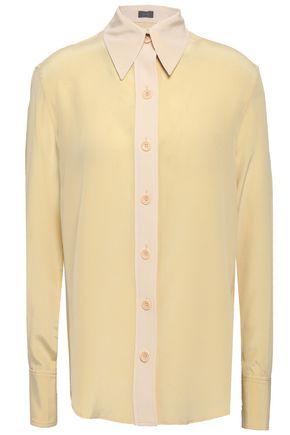 JOSEPH New Garçon two-tone silk crepe de chine shirt