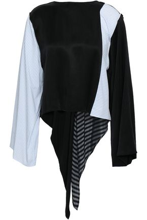 MM6 MAISON MARGIELA Paneled striped cotton and woven top