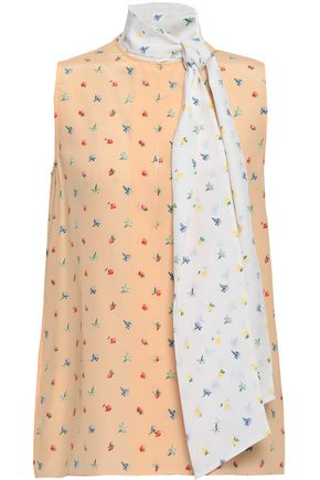 JOSEPH Draped floral-print silk crepe de chine top