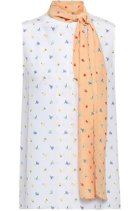 JOSEPH Draped floral-print silk crepe de chine top