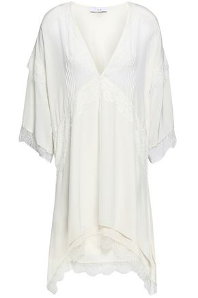 IRO Hanano lace-trimmed silk crepe de chine mini dress