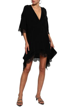 IRO Lace-trimmed silk crepe de chine mini dress
