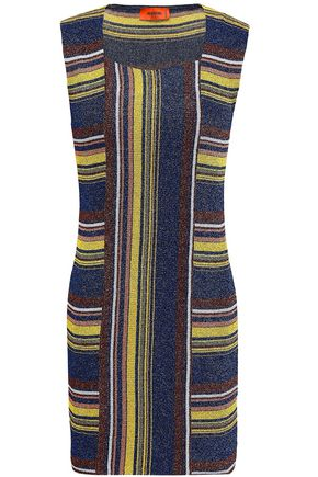 MISSONI Metallic ribbed-knit mini dress