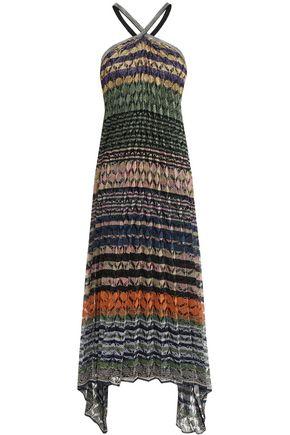 MISSONI Open-back metallic crochet-knit halterneck midi dress