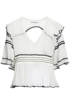 IRO Cutout embroidered crinkled-gauze blouse