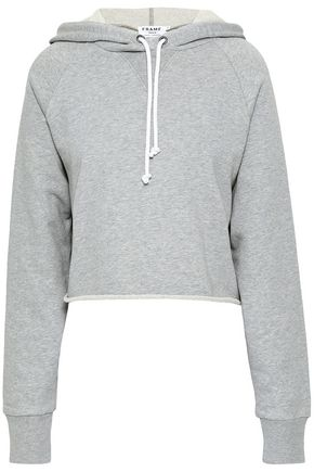 FRAME Cropped mélange French cotton-terry hooded sweatshirt