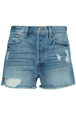 FRAME | Frame Distressed Denim Shorts | Goxip
