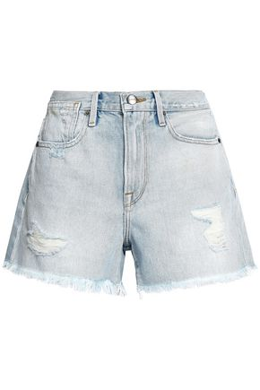 FRAME Distressed denim shorts