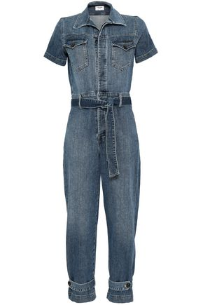 FRAME Belted faded denim jumpsuit