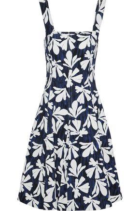OSCAR DE LA RENTA Pleated printed stretch-cotton twill dress