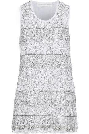 VICTORIA, VICTORIA BECKHAM Layered lace and crepe de chine tank