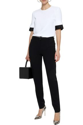 VICTORIA, VICTORIA BECKHAM Pleated silk-trimmed crepe de chine T-shirt