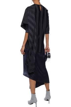 VICTORIA, VICTORIA BECKHAM Asymmetric layered striped silk-satin and poplin top