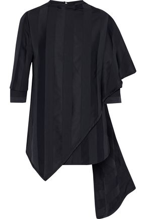VICTORIA, VICTORIA BECKHAM Asymmetric layered striped silk-satin and poplin top