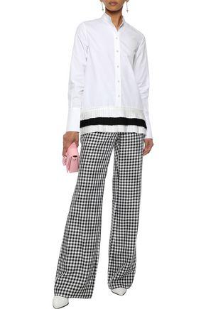 VICTORIA, VICTORIA BECKHAM Satin-trimmed cotton-poplin shirt