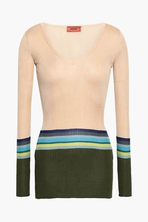 MISSONI Striped ribbed silk-blend sweater