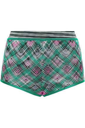 MISSONI Checked crochet-knit shorts