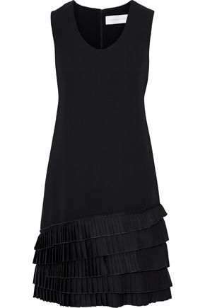 VICTORIA, VICTORIA BECKHAM Pleated satin-trimmed crepe dress