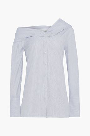 VICTORIA, VICTORIA BECKHAM One-shoulder striped cotton-poplin shirt