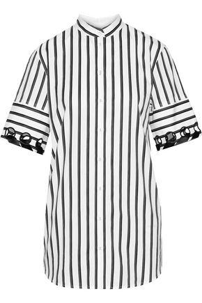 VICTORIA, VICTORIA BECKHAM Cutout ribbon-trimmed striped cotton-poplin shirt
