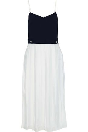 VICTORIA, VICTORIA BECKHAM Two-tone cady and washed-crepe midi dress