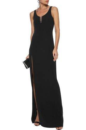 ALEXANDER WANG Barbell-embellished crepe gown