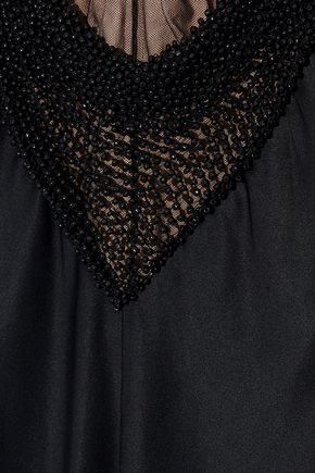 ALEXANDER WANG Bead-embellished tulle-paneled silk-satin gown