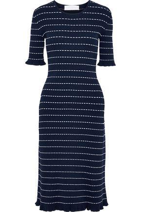 VICTORIA, VICTORIA BECKHAM Striped ribbed-knit midi dress