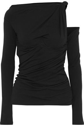 ALEXANDER WANG Cutout gathered cotton-blend jersey top