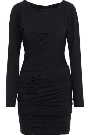 ALEXANDER WANG Ruched stretch-cotton jersey mini dress