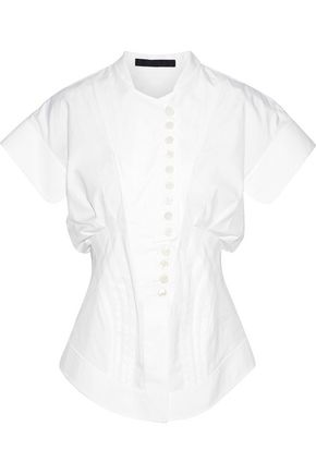 ALEXANDER WANG Piqué-trimmed pintucked cotton-poplin blouse