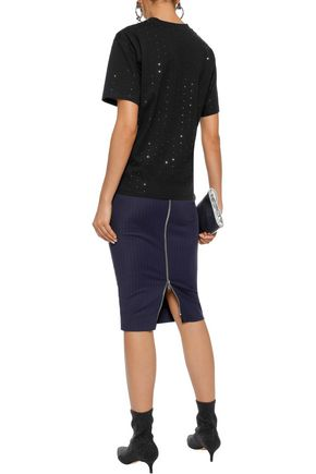 VICTORIA, VICTORIA BECKHAM Crystal-embellished cotton-jersey T-shirt