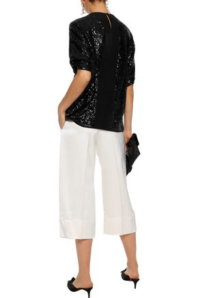 VICTORIA, VICTORIA BECKHAM Grosgrain-trimmed sequined knitted top