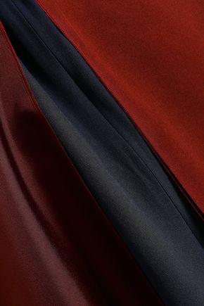ROKSANDA Draped two-tone silk-satin twill top