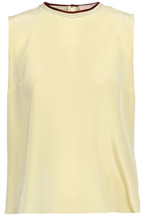 ROKSANDA Grosgrain-trimmed silk top