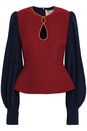 ROKSANDA Color-block silk-blend crepe peplum blouse