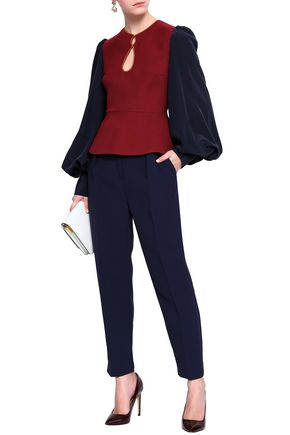 ROKSANDA Nadi two-tone silk-blend crepe peplum blouse