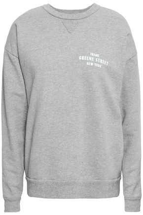 FRAME Printed cotton-blend fleece sweatshirt
