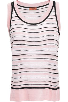 MISSONI Striped pointelle-knit tank