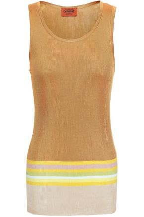 MISSONI Striped ribbed silk-blend tank